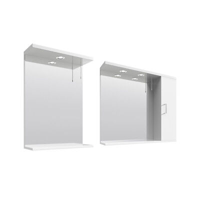 LED Mirror Cabinet Wall Mounted White Bathroom Cabinet Single Door