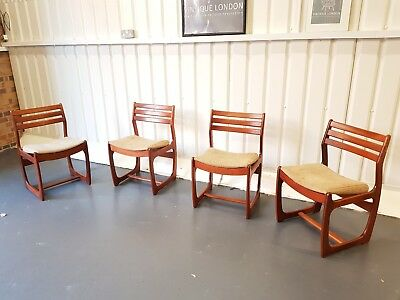 4 Danish Mid Century Vintage Teak Chairs by Portwood - Delivery