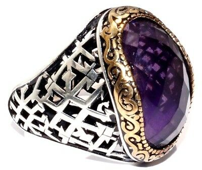 925 Sterling Silver Men's Ring with Absolutely Handmade Real Amethyst