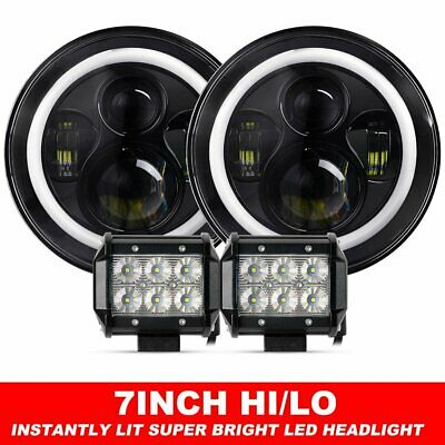 "Pair 7inch LED Headlights Projector Lens DRL Halo For GQ PATROL + 4"" Flood Pods"