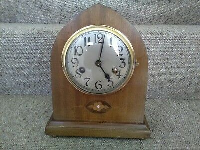 Vintage inlaid Mantle Clock With Key & Pendulum. Relisted-Non Payment.