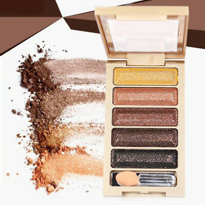 6 Colors Shimmer Eyeshadow Palette Makeup Cosmetics Glitter Eye Shadow Mat AYD