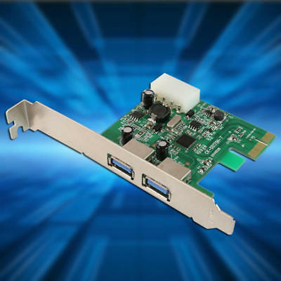2-Port USB 3.0 PCI-Express PCIe Adapter Controller Card Low Profile 4-Pin LEV