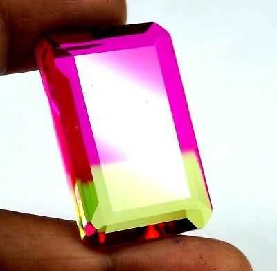 GGL Certified 54.00 Ct Emerald Cut Multi Color Tourmaline Gem For Jewellery
