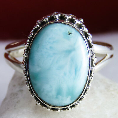 Collared Granulation Ring Size US 8.25 SILVERSARI Solid 925 Silver & LARIMAR