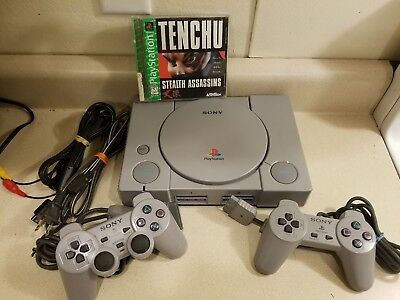 Original SONY Playstation 1 PS1 Console w/ 2 Controllers Cables Tested