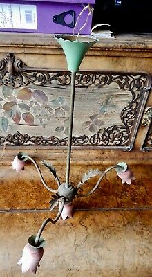 Antique 3 Branched Chandelier Shabby Chic In Need of Restoration and Rewiring