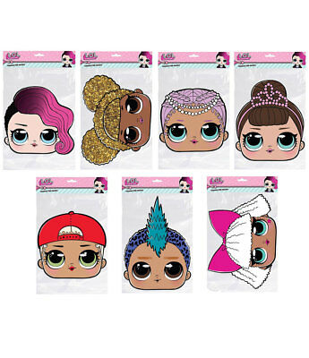 LOL Surprise 2D Card Party Face Masks Variety Pack of 7 LOL dolls Party Mask