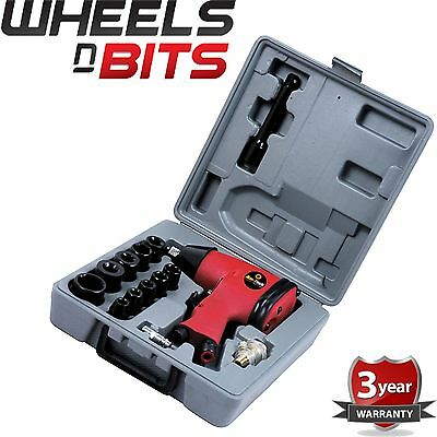 """NEW 1/2"""" Drive Air impact Wrench Tool 17pc Inc 10 Impact Sockets Set Compressor"""
