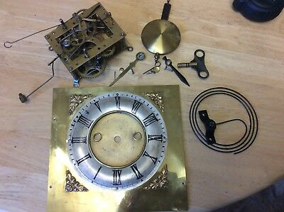 Hamburg American Clock Co Mechanism, Pendulum, Face, Key Hands Etc