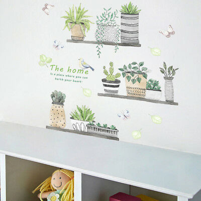 Flower Potted Butterfly Wall Sticker Kitchen Window Glass Bathroom Decals LI