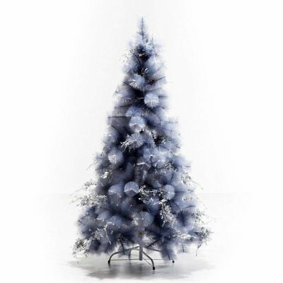 HOMCOM Snow Grey Spruce Artificial Christmas Tree with Metal Stand, 7ft