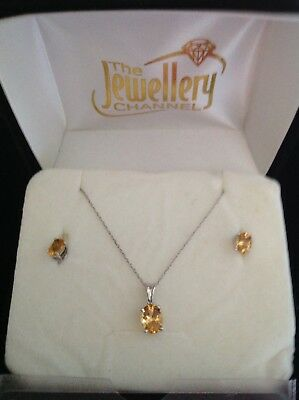Jewellery Channel Sterling Silver and Citrine Pendant and Earrings Set. New .