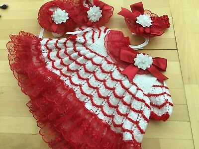 Romany Blinged Baby Christmas Handknitted Dress, Boots & Hairband 3 Mths