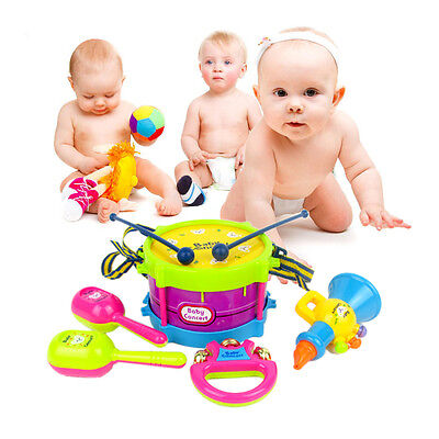 5pcs Kids Baby Roll Drum Musical Instruments Band Kit Children Toy Gift Toy HS