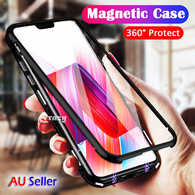 Magnetic Adsorption Metal Tempered Glass Case Cover For Oppo R17 Pro AX5 AX7