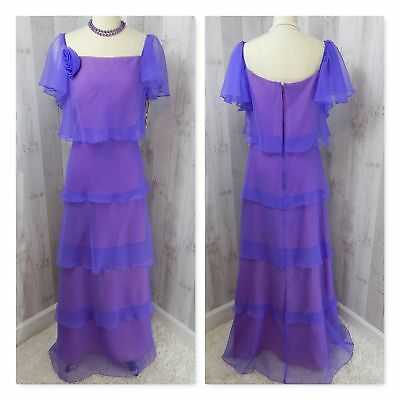 NOS 1970s Vintage DRESS/GOWN~Purple Chiffon Overlay Rosette Prom Evening Vtg 13