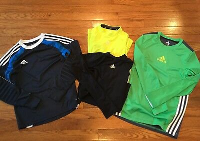 Lot Of Adidas Youth Boys Athletic Shirts/zip Up Hoodies/goalie Jersey.Medium EUC