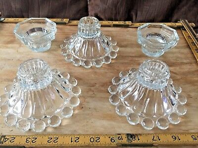 Vintage Glass Candle Holder Lot Of 5