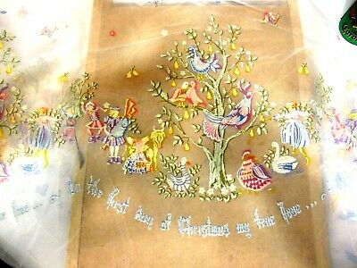 """Vintage Christmas Craft Fabric """"On the First Day of Christmas"""" 45""""x60"""""""