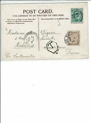 Postcard Jersey, Royal Square , to France , Postage Due Raised , T in hexagon L?
