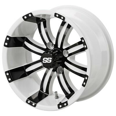4 Golf Cart 205/30-14 Tire on a 14x7 White/Black Casino Wheel