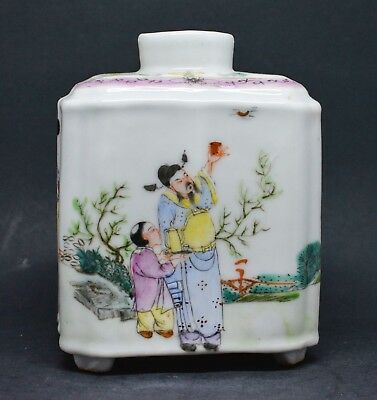 Antique Chinese Export Porcelain Tea Caddy ~ Marked CHINA ~ 4.5 Inches tall~