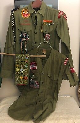 Vintage 1960s Boy Eagle Scout Lot: Shirt, Collarless Shirt, Sash with Patches