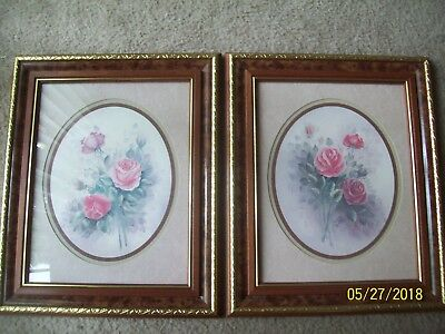2 Framed Homco Home Interior Pictures EUC Artist Wyona Newton - Rose Bouquet