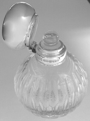 Crystal Perfume Bottle with Hinged Sterling Silver Cap