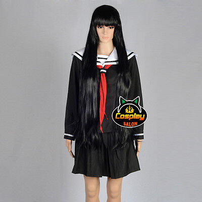 Anime Hell Girl School Uniform Black Party Japan Skirt Dress+Tie Cosplay Costume
