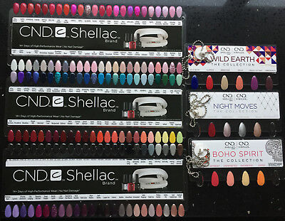 CND SHELLAC Salon NAIL TIP COLOUR CHART PALETTE 6pc Set + Chain 142 Colours