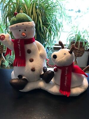 2004 Hallmark Animated Jingle Pals Snowman  & Dog Musical Plush Figure
