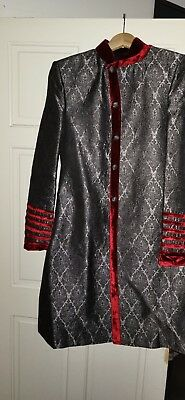 2X Mens Grey and Red Custom made Sherwani Only Worn Once Size 36 Mint Condition