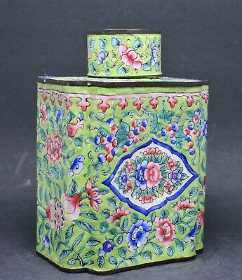 Antique Chinese Enamel Tea/Tobacco Caddy ~ 5 inches tall ~
