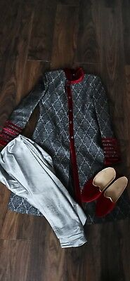 Mens custom made, Red & Grey Sherwani Set with shoes size 40 only worn Once