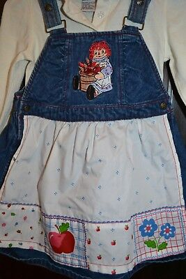Vintage Toddler Raggedy Ann and Andy Shirt Apron Overalls Dress 4T