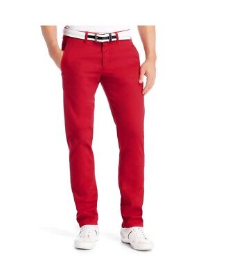 New Hugo Boss mens red cotton slim fit chino shirt suit jeans trouser pants £99