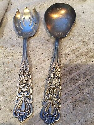 Italy Plated Serving Pieces Salad Fork & Spoon Server Handmade Vintage