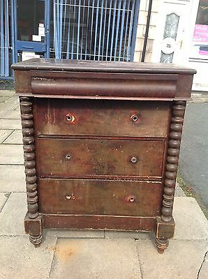 Antique Victorian Pine Painted Scotch Chest Of Draws Restoration Shabby Chic