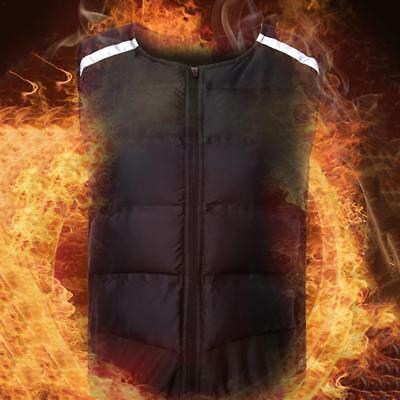Womens USB Heated Winter Sleeveless Vest Jacket Heating Wind Resistant Coat Warm