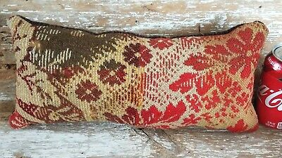 Primitive Handmade Woven Wool Coverlet Pillow Tuck Large Pinkeep Doll Turkey Red