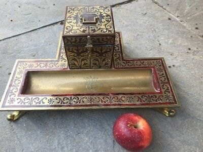 Antique Large Red Boulle Ware Inkwell Desk Stand - @ 1860
