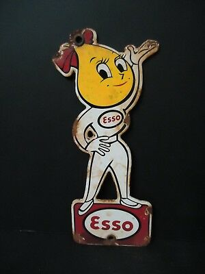 Vintage Esso Drop Girl Woman Gasoline Porcelain Gas Station Door Sign Now Exxon