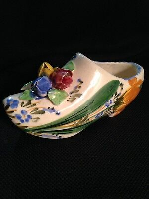 Shoe Clog with Red, Yellow and Blue Tulip Buds marked Italy 5812