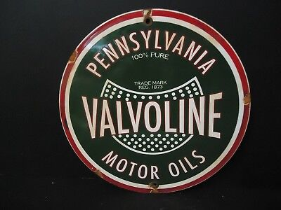 Vintage Valvoline Motor Oils Porcelain Gas Pump Sign Pure Penn.