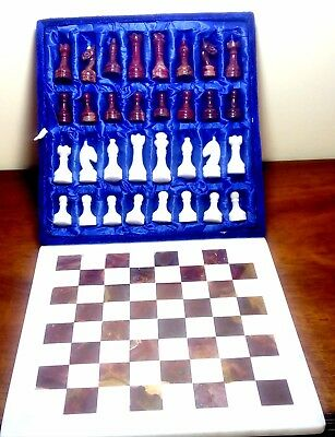 "Marble Stone Rock Hand Crafted Chess Pieces Set with board ""New"""