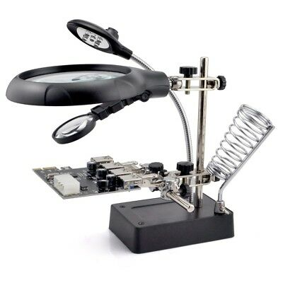 5 LED 2.5X 7.5X 10X 2 Lens Auxiliary Alligator Clip Magnifier Solder iron stand