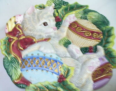 Fitz And Floyd Kristmas Kitty Cat Canape 3D Christmas Plate