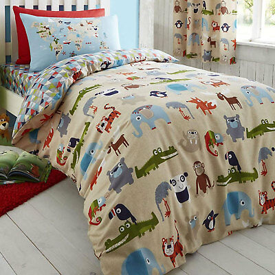 Animal Kingdom Kids Childrens Baby Fun Hippo Duvet Quilt Cover Set, Double Bed